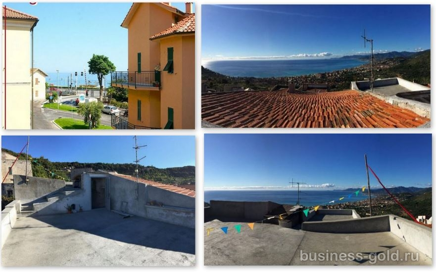 В Лигурии, Италия, между Сан Ремо и Генуей, дом с видом на море.